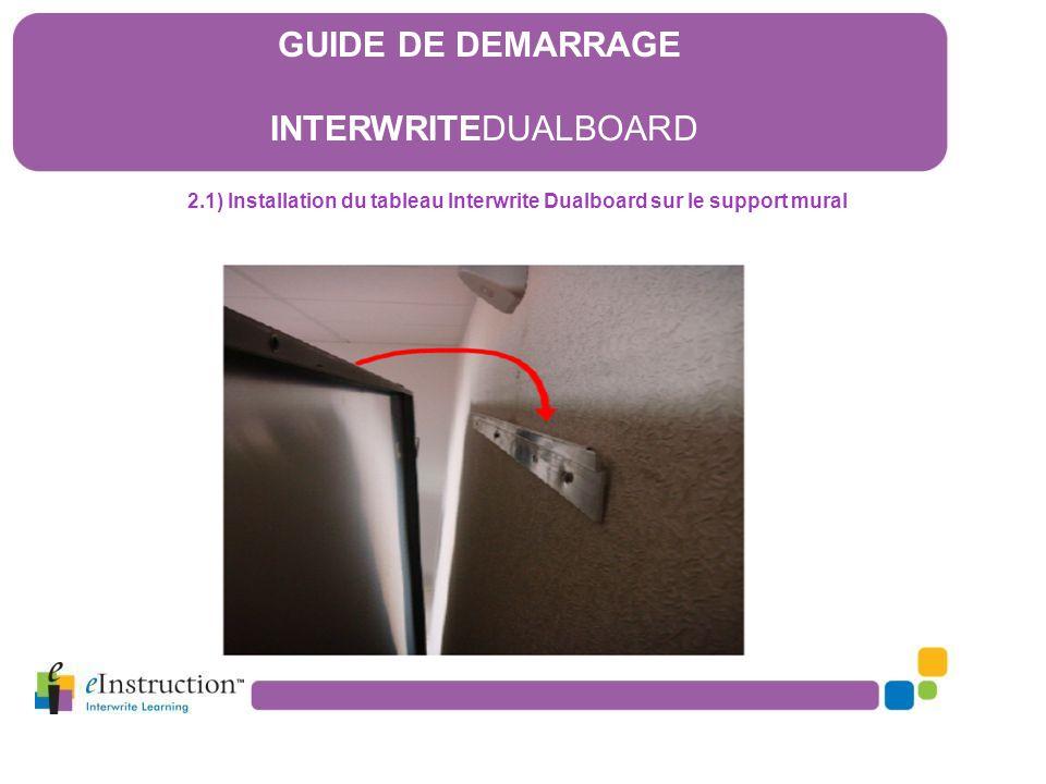 2.2) Installation du chargeur de stylets GUIDE DE DEMARRAGE INTERWRITEDUALBOARD