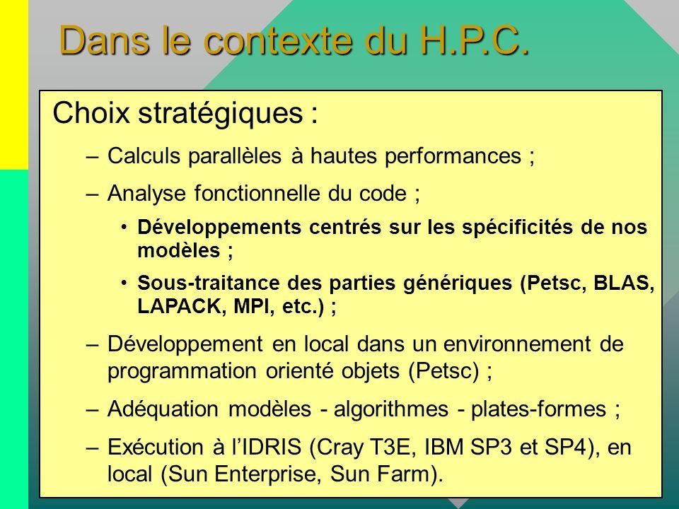 Dans le contexte du H.P.C. Choix stratégiques : –Calculs parallèles à hautes performances ; –Analyse fonctionnelle du code ; Développements centrés su