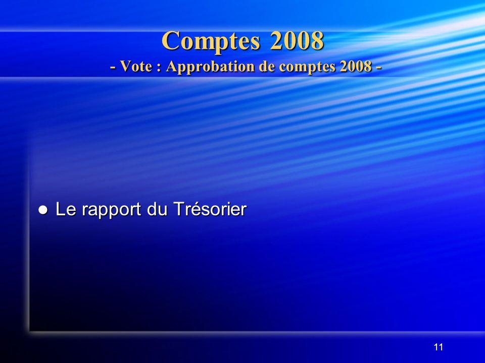 11 Comptes 2008 - Vote : Approbation de comptes 2008 - Le rapport du Trésorier Le rapport du Trésorier