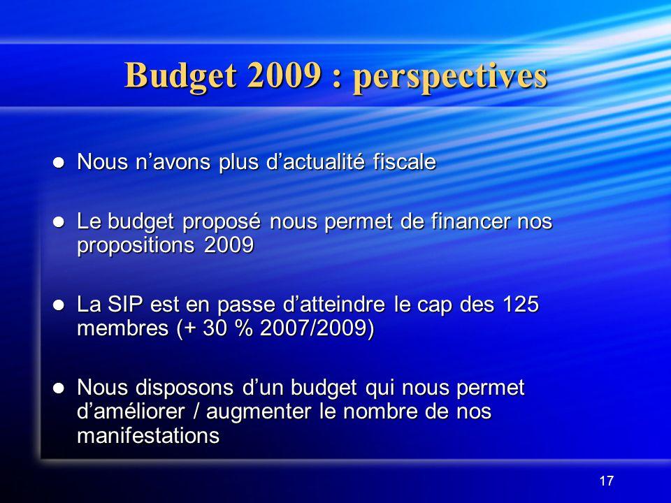 17 Budget 2009 : perspectives Nous n'avons plus d'actualité fiscale Nous n'avons plus d'actualité fiscale Le budget proposé nous permet de financer no