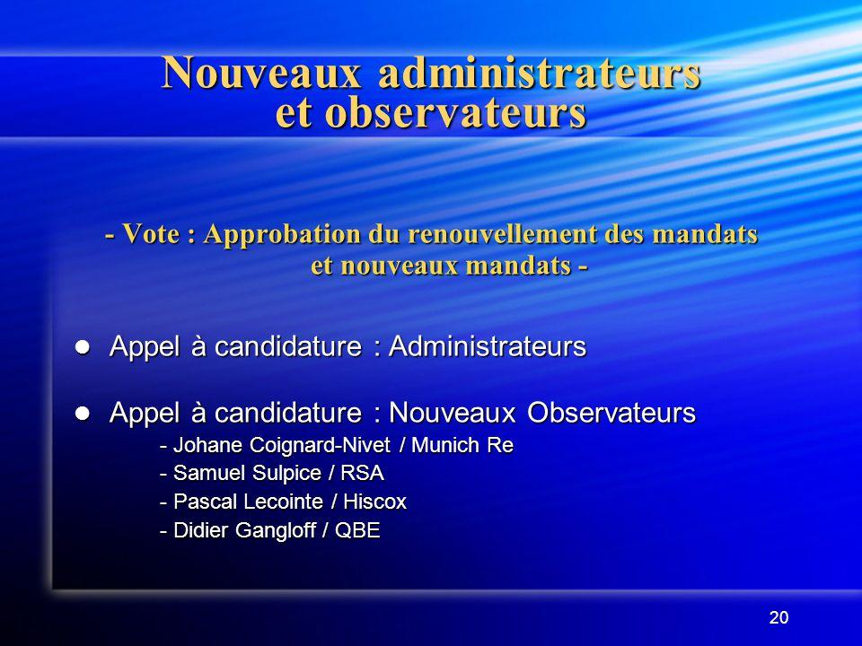 20 Nouveaux administrateurs et observateurs - Vote : Approbation du renouvellement des mandats et nouveaux mandats - Appel à candidature : Administrat