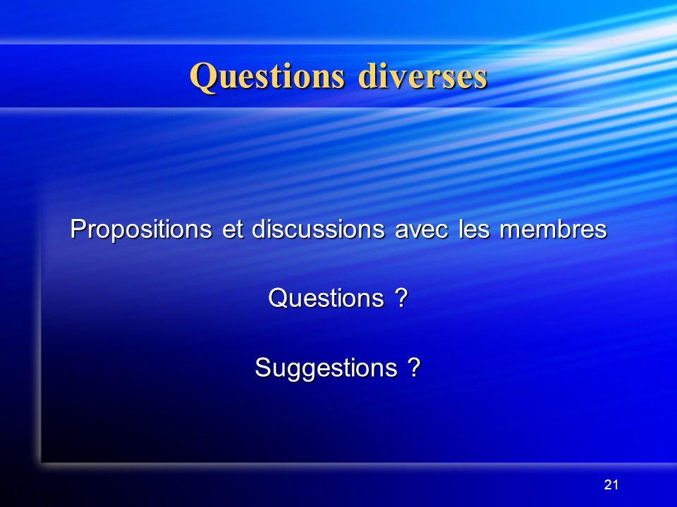 21 Questions diverses Propositions et discussions avec les membres Questions ? Suggestions ?