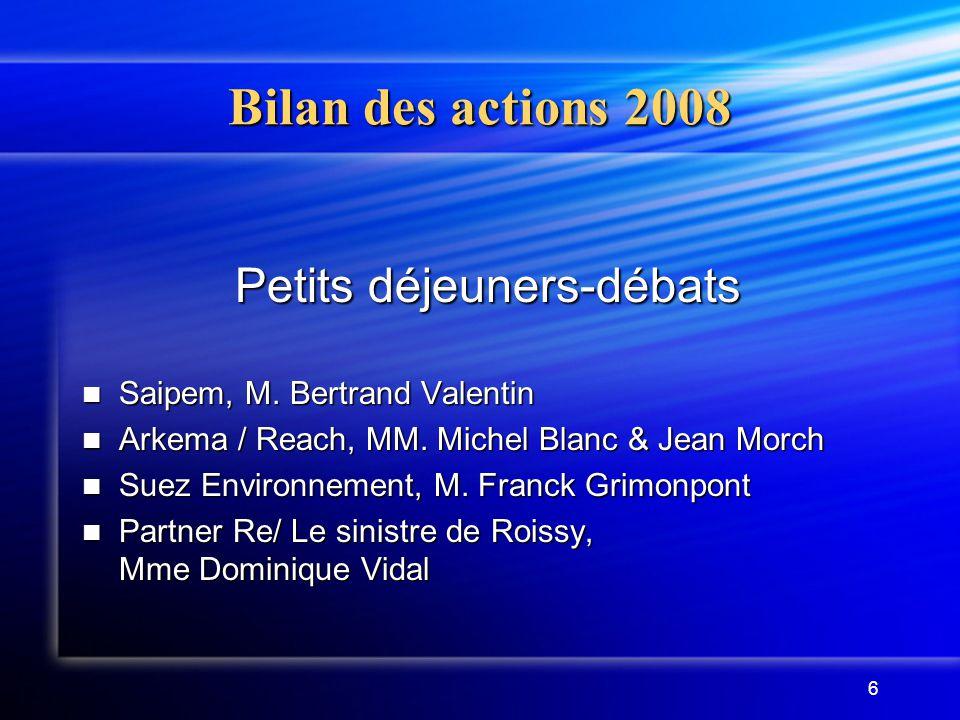 6 Petits déjeuners-débats Saipem, M. Bertrand Valentin Saipem, M. Bertrand Valentin Arkema / Reach, MM. Michel Blanc & Jean Morch Arkema / Reach, MM.