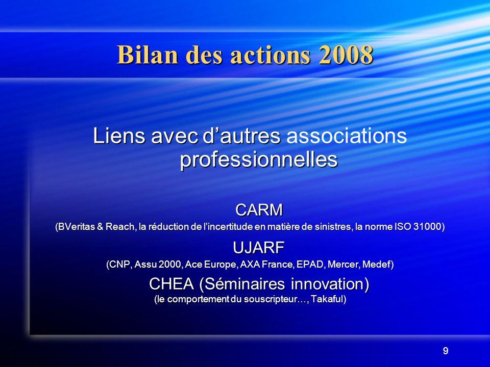 9 Bilan des actions 2008 Liens avec d'autres professionnelles Liens avec d'autres associations professionnellesCARM (BVeritas & Reach, la réduction de