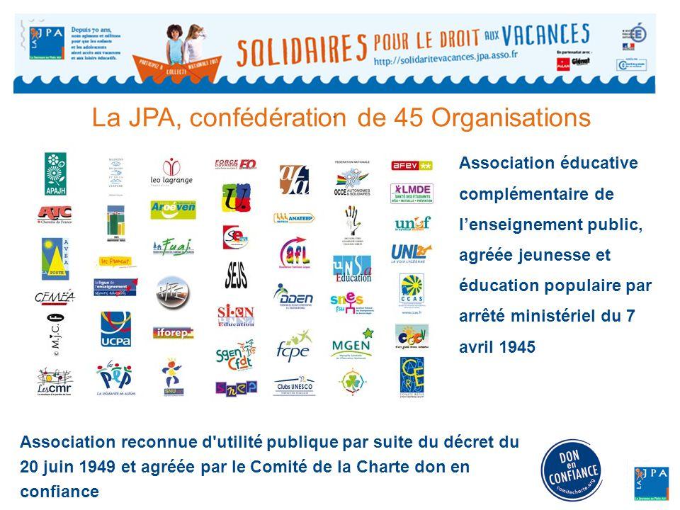 La JPA, confédération de 45 Organisations Association reconnue d utilité publique par suite du décret du 20 juin 1949 et agréée par le Comité de la Charte don en confiance.