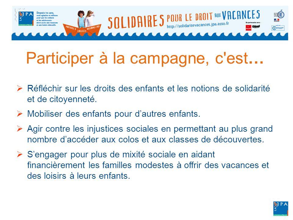 Participer à la campagne, c est…  Réfléchir sur les droits des enfants et les notions de solidarité et de citoyenneté.