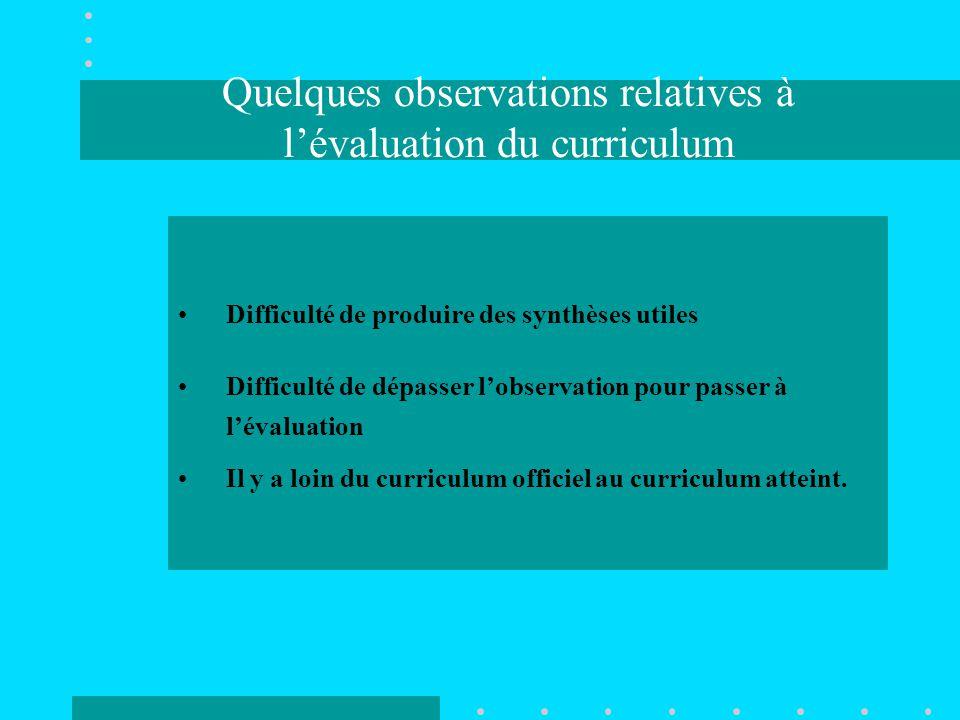 Quelques observations relatives à l'évaluation du curriculum Difficulté de produire des synthèses utiles Difficulté de dépasser l'observation pour passer à l'évaluation Il y a loin du curriculum officiel au curriculum atteint.