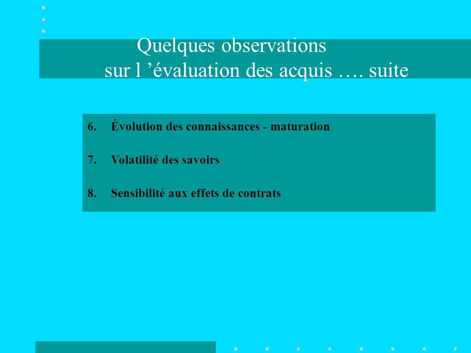 Quelques observations sur l 'évaluation des acquis ….
