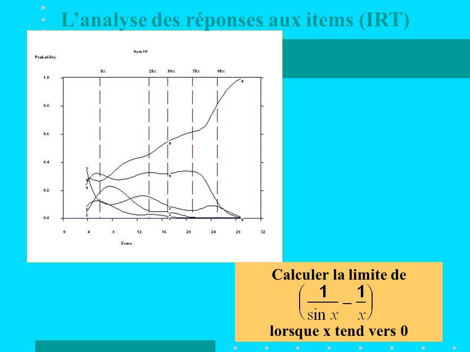 Calculer la limite de lorsque x tend vers 0 L'analyse des réponses aux items (IRT)