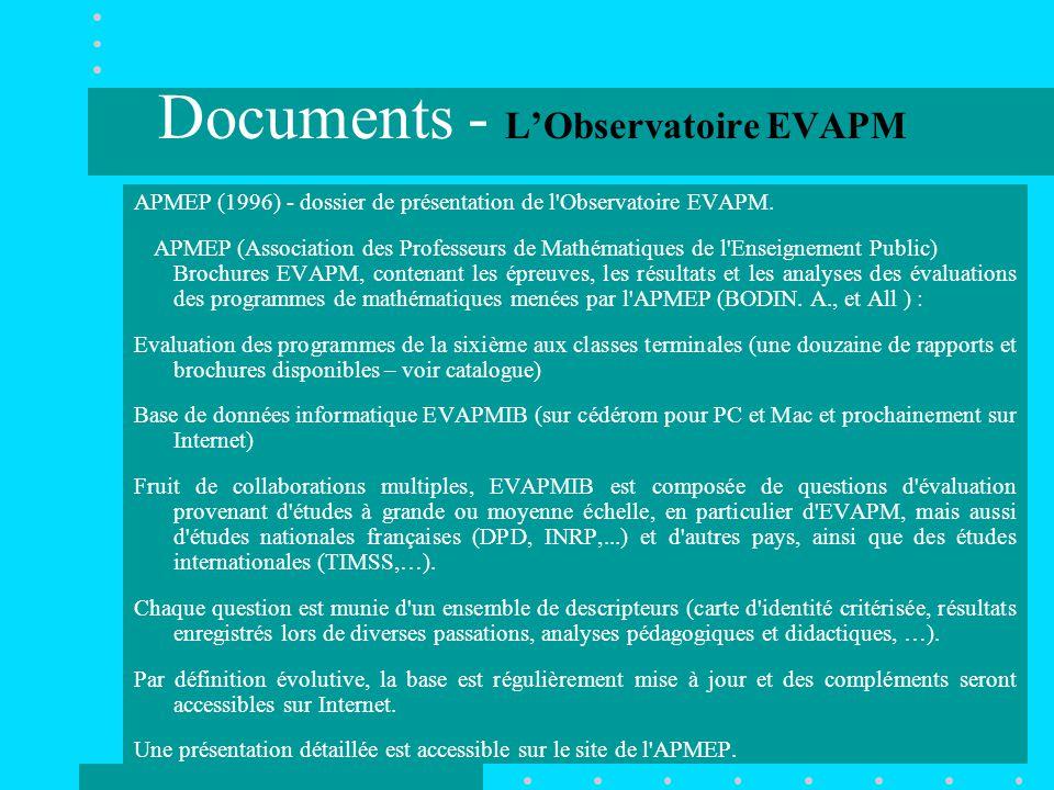 Documents - L'Observatoire EVAPM APMEP (1996) - dossier de présentation de l Observatoire EVAPM.