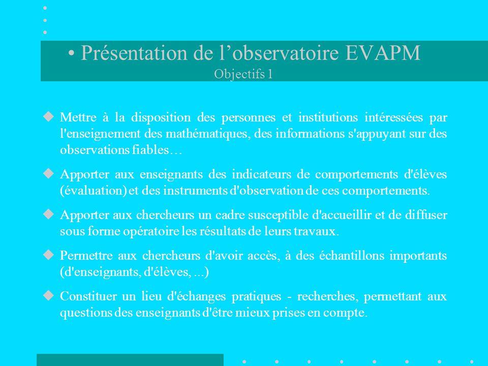 –Constituer une force réactive capable de répondre aux besoins des instances de l'APMEP –Associer fortement les enseignants à la préparation et à l'exploitation des enquêtes.