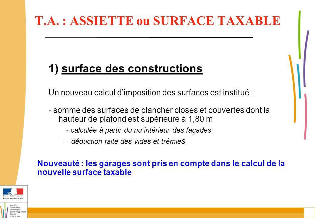 10 T.A. : ASSIETTE ou SURFACE TAXABLE 1) surface des constructions Un nouveau calcul d'imposition des surfaces est institué : - - somme des surfaces d