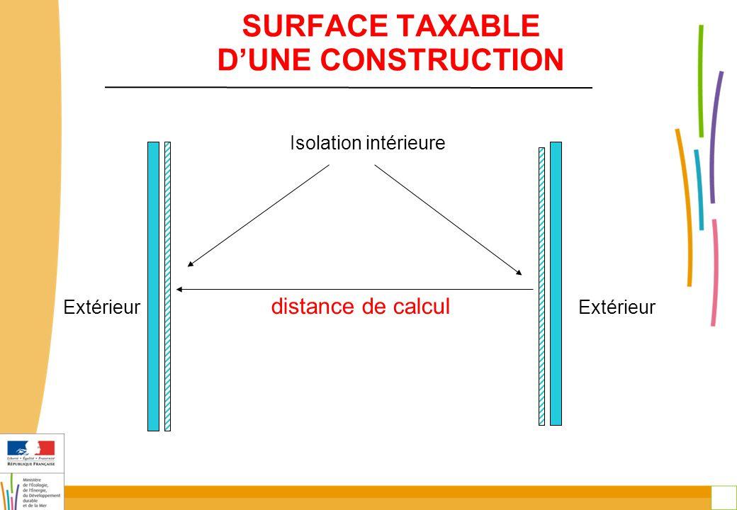 11 SURFACE TAXABLE D'UNE CONSTRUCTION Isolation intérieure Extérieur distance de calcul Extérieur