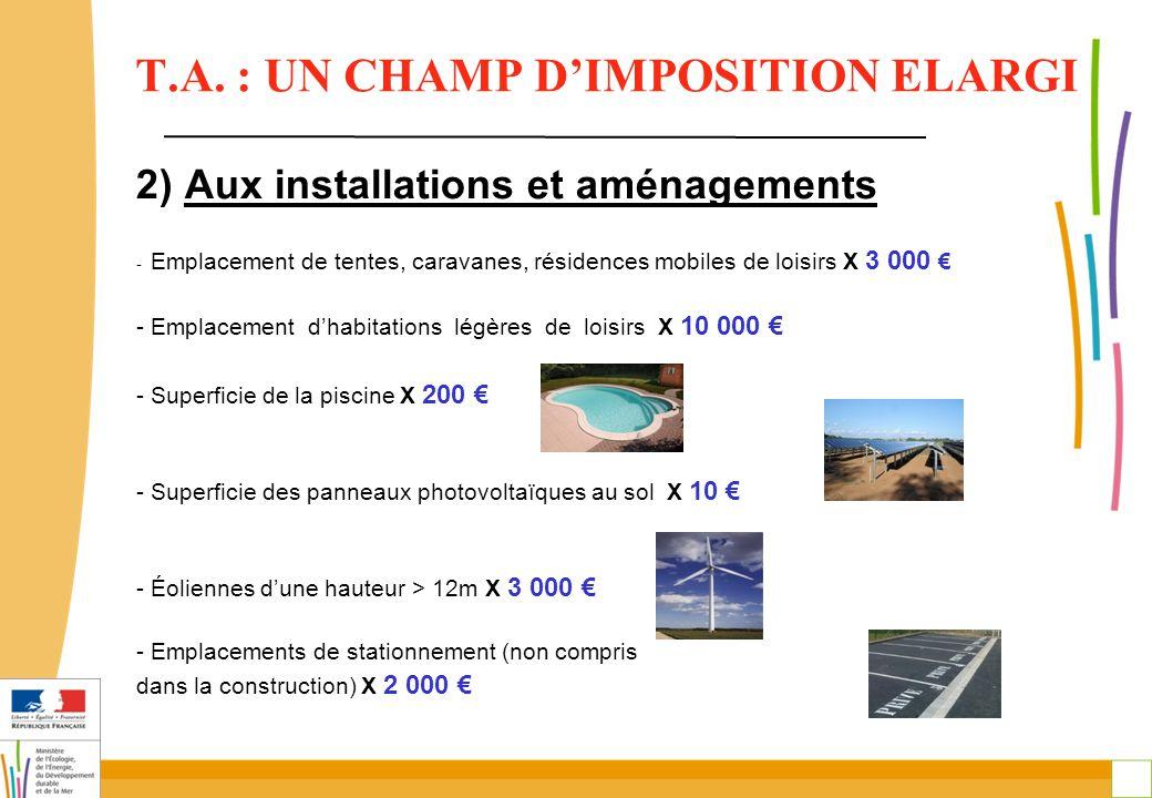 12 2) Aux installations et aménagements - Emplacement de tentes, caravanes, résidences mobiles de loisirs X 3 000 € - Emplacement d'habitations légères de loisirs X 10 000 € - Superficie de la piscine X 200 € - Superficie des panneaux photovoltaïques au sol X 10 € - Éoliennes d'une hauteur > 12m X 3 000 € - Emplacements de stationnement (non compris dans la construction) X 2 000 € T.A.