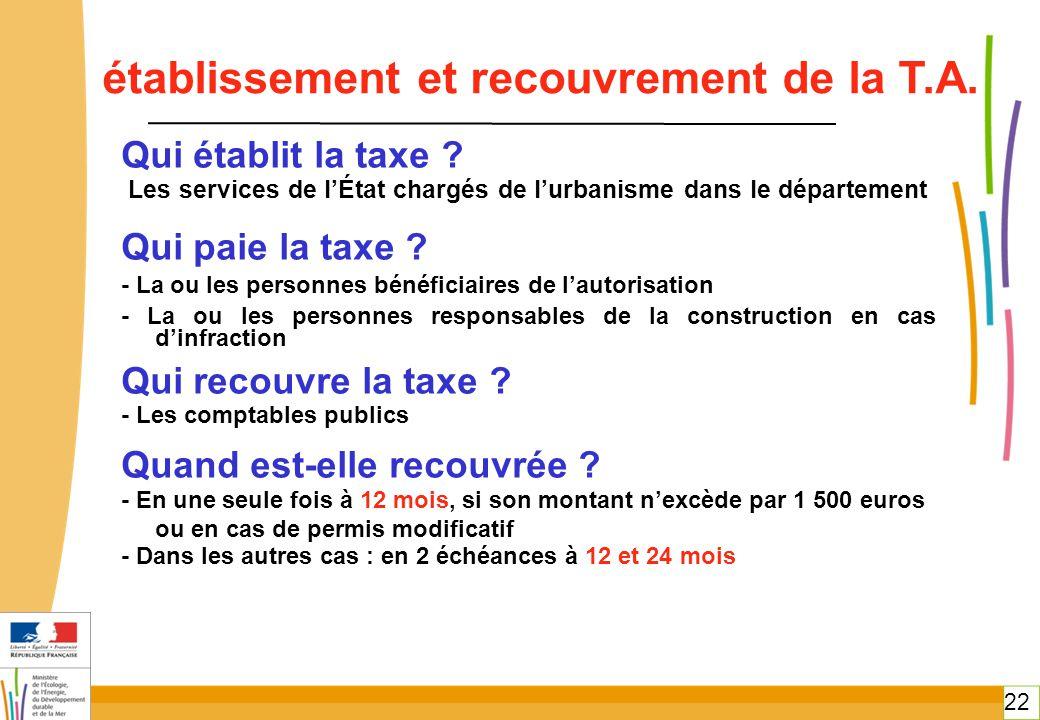 22 Qui établit la taxe ? Les services de l'État chargés de l'urbanisme dans le département Qui paie la taxe ? - La ou les personnes bénéficiaires de l