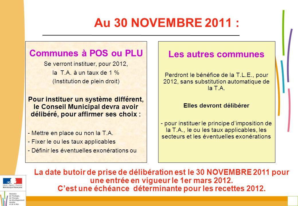 24 Au 30 NOVEMBRE 2011 : Communes à POS ou PLU Se verront instituer, pour 2012, la T.A. à un taux de 1 % (Institution de plein droit) Pour instituer u
