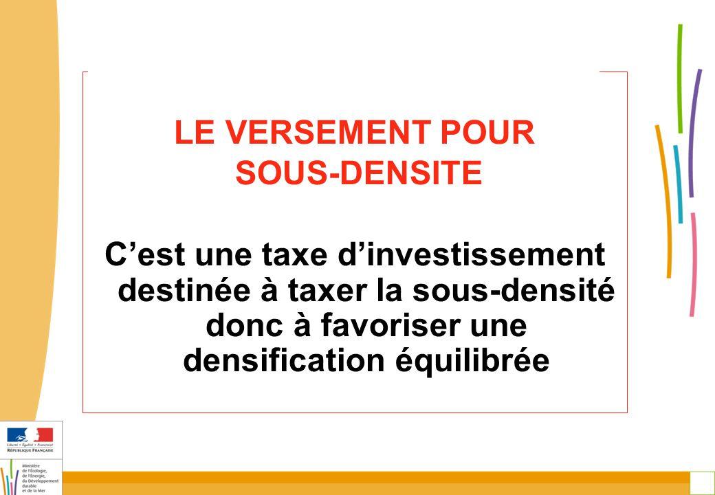 27 LE VERSEMENT POUR SOUS-DENSITE C'est une taxe d'investissement destinée à taxer la sous-densité donc à favoriser une densification équilibrée