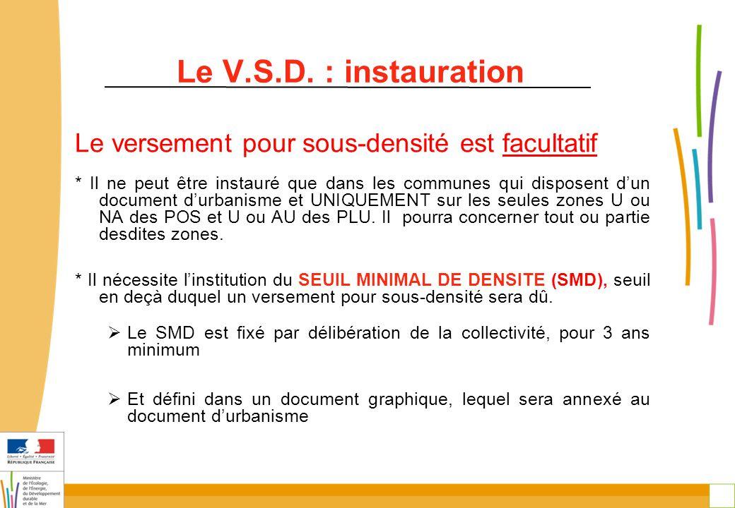 29 Le V.S.D. : instauration Le versement pour sous-densité est facultatif * Il ne peut être instauré que dans les communes qui disposent d'un document