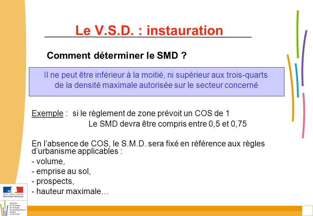 30 Le V.S.D. : instauration Comment déterminer le SMD ? Exemple : si le règlement de zone prévoit un COS de 1 Le SMD devra être compris entre 0,5 et 0