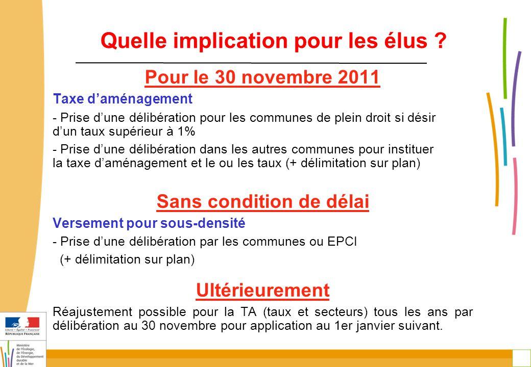 7 Quelle implication pour les élus ? Pour le 30 novembre 2011 Taxe d'aménagement - Prise d'une délibération pour les communes de plein droit si désir