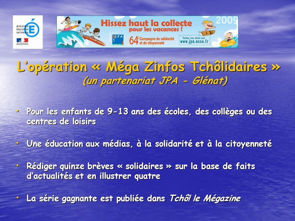 L'opération « Méga Zinfos Tchôlidaires » (un partenariat JPA - Glénat) Pour les enfants de 9-13 ans des écoles, des collèges ou des centres de loisirs Une éducation aux médias, à la solidarité et à la citoyenneté Rédiger quinze brèves « solidaires » sur la base de faits d'actualités et en illustrer quatre La série gagnante est publiée dans Tchô.