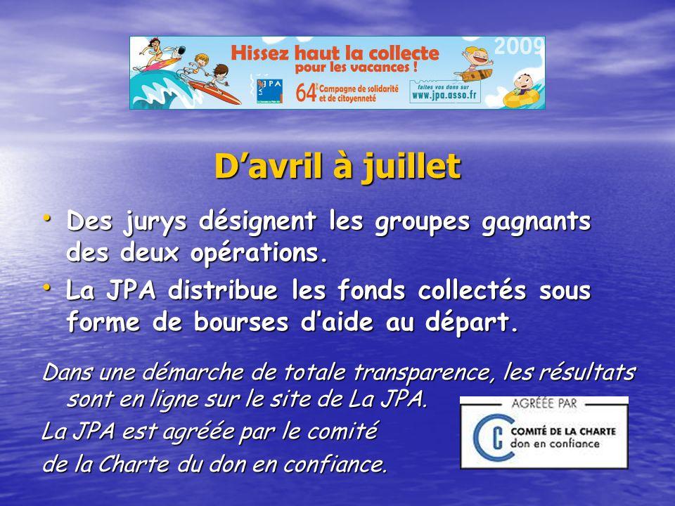 D'avril à juillet Des jurys désignent les groupes gagnants des deux opérations.