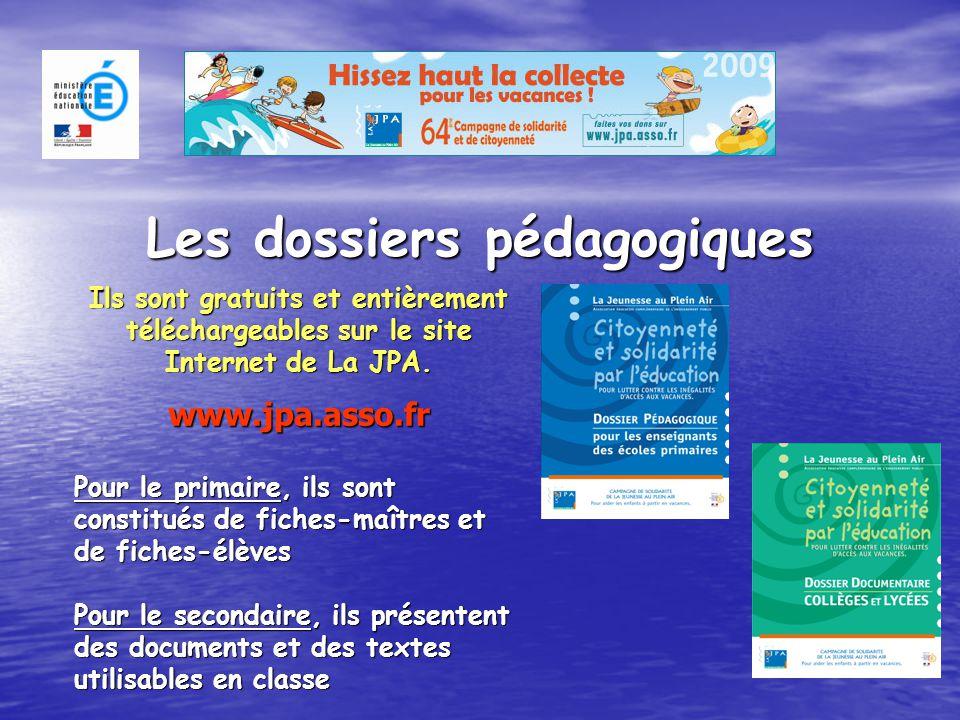 Les dossiers pédagogiques Ils sont gratuits et entièrement téléchargeables sur le site Internet de La JPA.