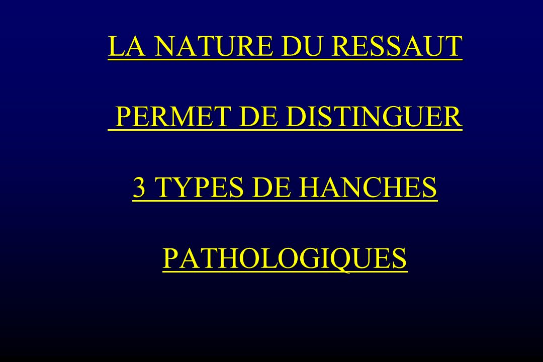 LA NATURE DU RESSAUT PERMET DE DISTINGUER 3 TYPES DE HANCHES PATHOLOGIQUES