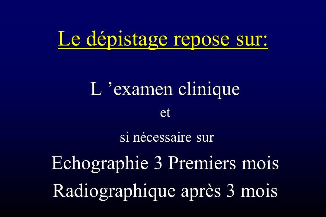 Le dépistage repose sur: L 'examen clinique et si nécessaire sur si nécessaire sur Echographie 3 Premiers mois Radiographique après 3 mois