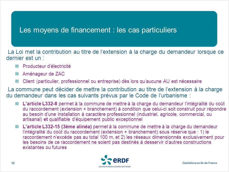 Opérations en Ile-de-France 10 Les moyens de financement : les cas particuliers La Loi met la contribution au titre de l'extension à la charge du dema