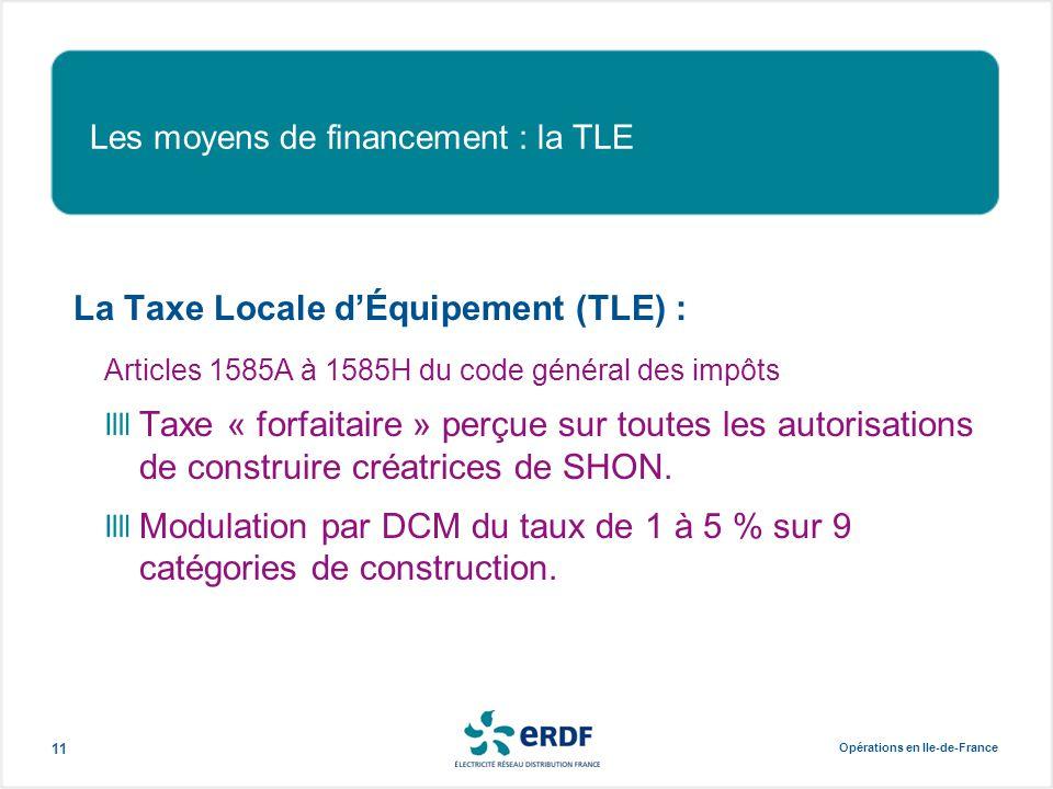 Opérations en Ile-de-France 11 Les moyens de financement : la TLE La Taxe Locale d'Équipement (TLE) : Articles 1585A à 1585H du code général des impôt