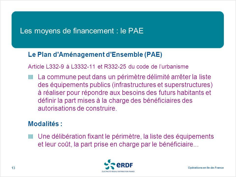 Opérations en Ile-de-France 13 Les moyens de financement : le PAE Le Plan d'Aménagement d'Ensemble (PAE) Article L332-9 à L3332-11 et R332-25 du code