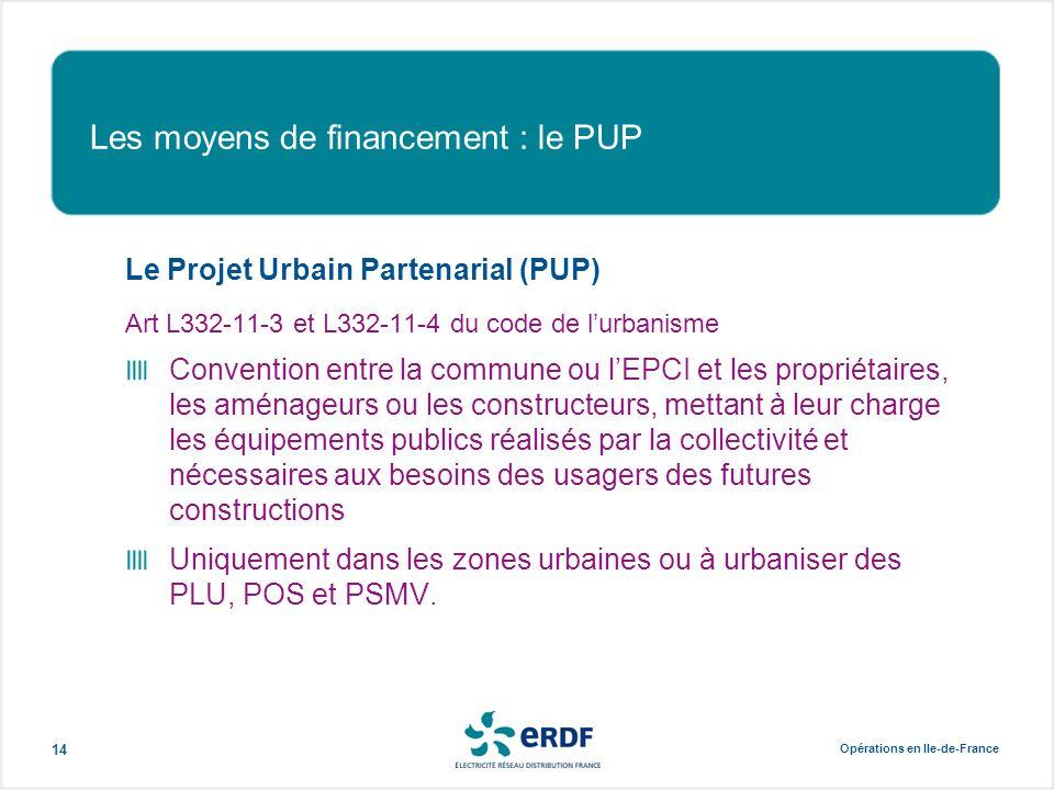 Opérations en Ile-de-France 14 Les moyens de financement : le PUP Le Projet Urbain Partenarial (PUP) Art L332-11-3 et L332-11-4 du code de l'urbanisme