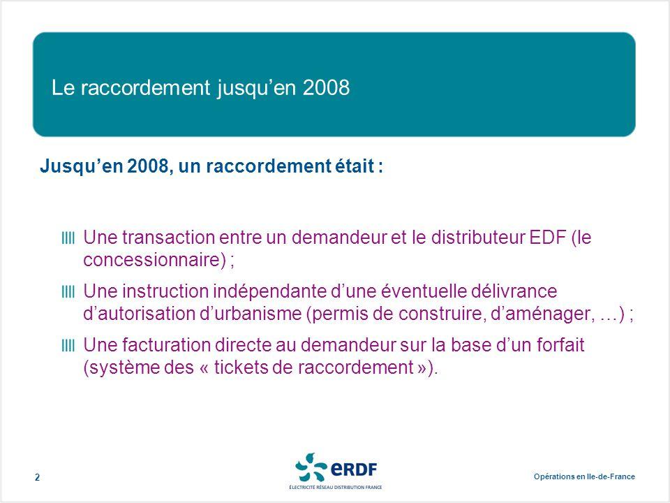 Opérations en Ile-de-France 2 Le raccordement jusqu'en 2008 Jusqu'en 2008, un raccordement était : Une transaction entre un demandeur et le distribute