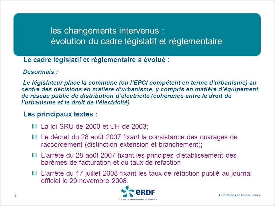 Opérations en Ile-de-France 3 les changements intervenus : évolution du cadre législatif et réglementaire Le cadre législatif et réglementaire a évolu