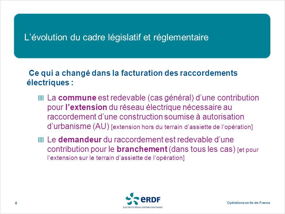 Opérations en Ile-de-France 4 L'évolution du cadre législatif et réglementaire Ce qui a changé dans la facturation des raccordements électriques : La