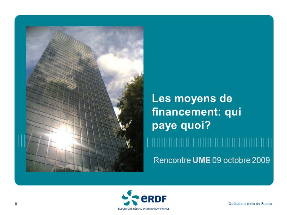 8 Opérations en Ile-de-France Les moyens de financement: qui paye quoi? Rencontre UME 09 octobre 2009