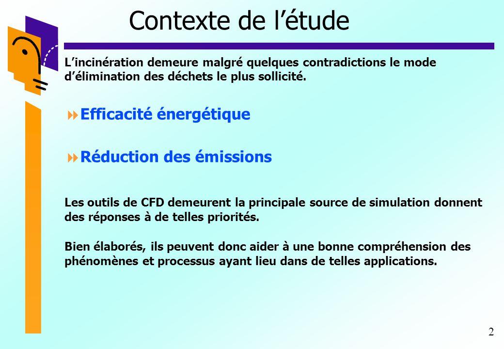 2 Contexte de l'étude L'incinération demeure malgré quelques contradictions le mode d'élimination des déchets le plus sollicité.  Efficacité énergéti