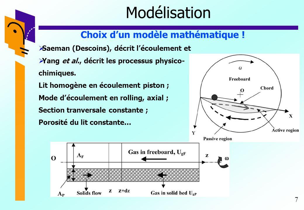 7 Modélisation Choix d'un modèle mathématique !  Saeman (Descoins), décrit l'écoulement et  Yang et al., décrit les processus physico- chimiques. Li