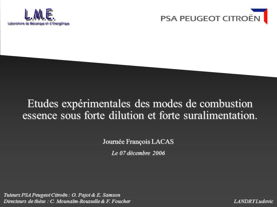 Etudes expérimentales des modes de combustion essence sous forte dilution et forte suralimentation. LANDRY Ludovic Journée François LACAS Le 07 décemb