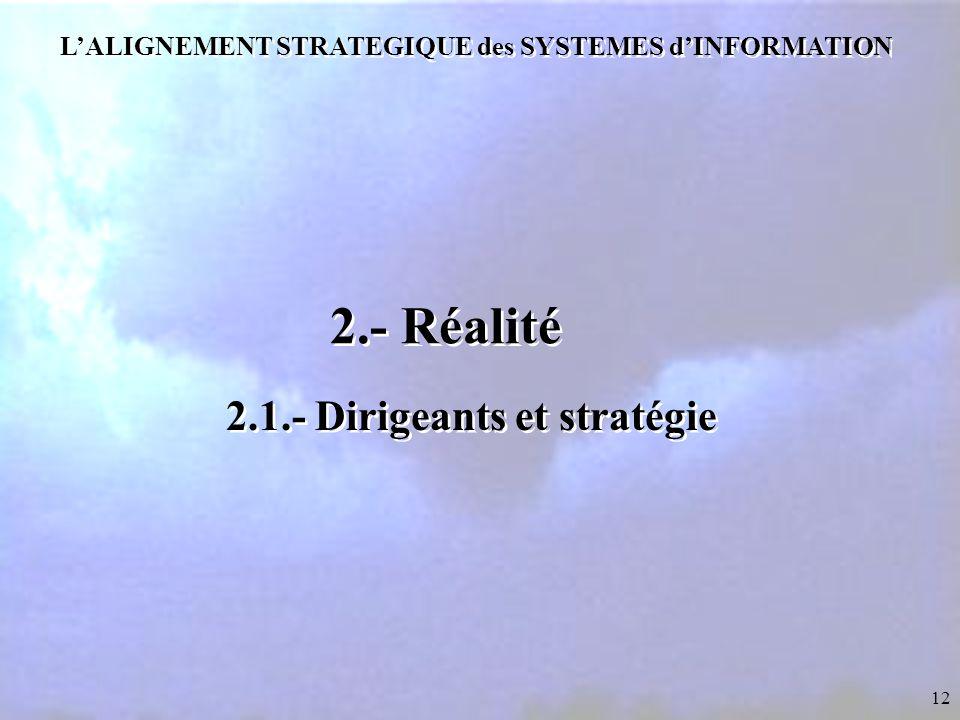 12 L'ALIGNEMENT STRATEGIQUE des SYSTEMES d'INFORMATION 2.- Réalité 2.1.- Dirigeants et stratégie