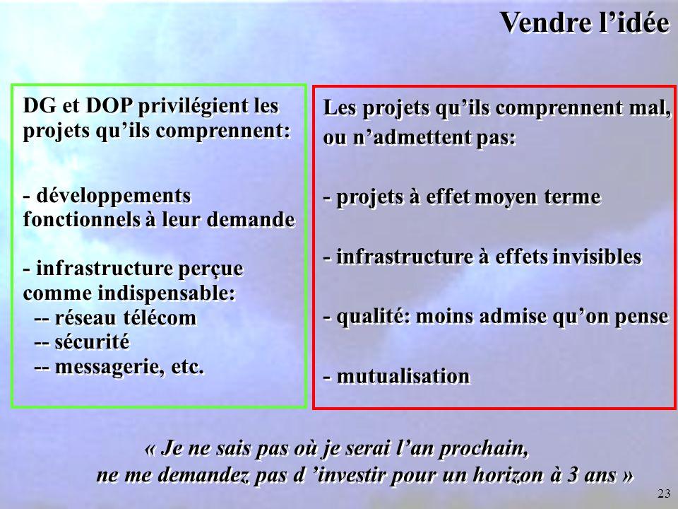 23 Vendre l'idée DG et DOP privilégient les projets qu'ils comprennent: - développements fonctionnels à leur demande - infrastructure perçue comme indispensable: -- réseau télécom -- sécurité -- messagerie, etc.