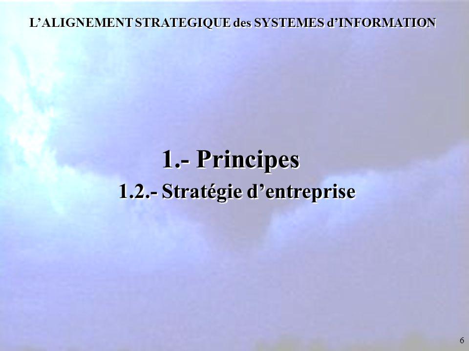 6 L'ALIGNEMENT STRATEGIQUE des SYSTEMES d'INFORMATION 1.- Principes 1.2.- Stratégie d'entreprise