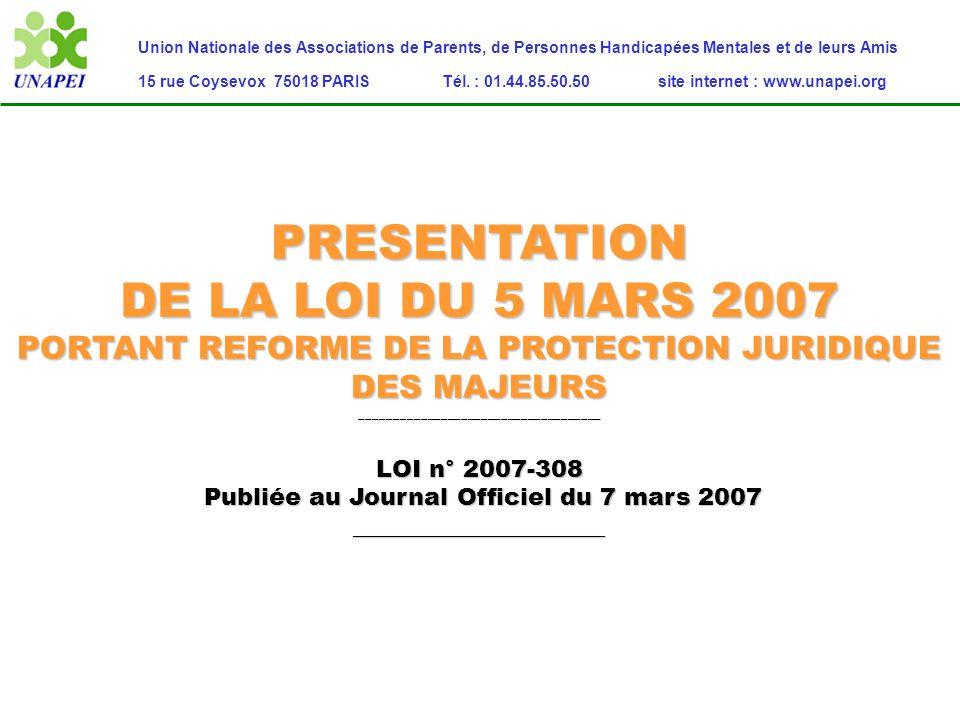 Présentation de la loi du 5 mars 2007 Les incidences pour les personnes protégées…