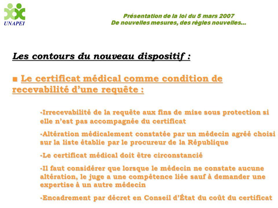 Présentation de la loi du 5 mars 2007 De nouvelles mesures, des règles nouvelles… Les contours du nouveau dispositif : ■ Le certificat médical comme c