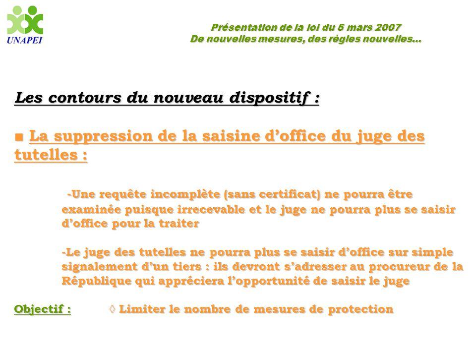 Présentation de la loi du 5 mars 2007 De nouvelles mesures, des règles nouvelles… Les contours du nouveau dispositif : ■ La suppression de la saisine