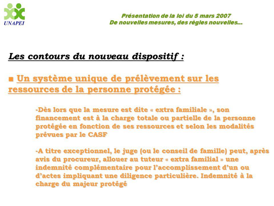 Présentation de la loi du 5 mars 2007 De nouvelles mesures, des règles nouvelles… Les contours du nouveau dispositif : ■ Un système unique de prélèvem