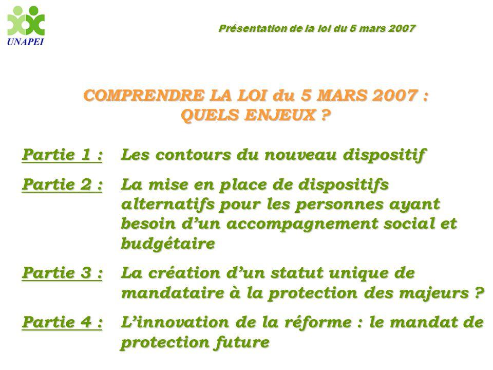 Présentation de la loi du 5 mars 2007 La création d'un statut unique de mandataire à la protection des majeurs Des dispositions spécifiques applicables à chaque catégorie de mandataire judiciaire…