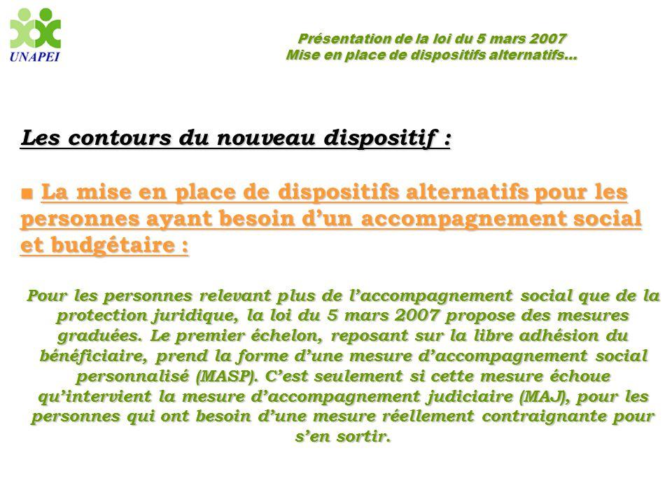 Présentation de la loi du 5 mars 2007 Mise en place de dispositifs alternatifs… Les contours du nouveau dispositif : ■ La mise en place de dispositifs