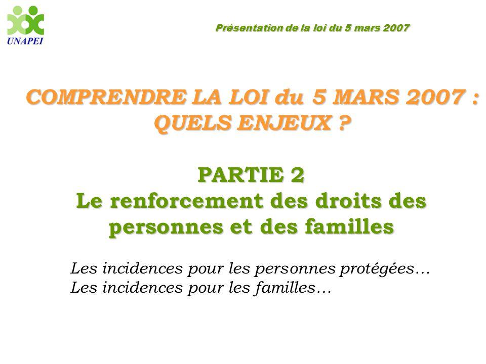 Présentation de la loi du 5 mars 2007 COMPRENDRE LA LOI du 5 MARS 2007 : QUELS ENJEUX ? PARTIE 2 Le renforcement des droits des personnes et des famil